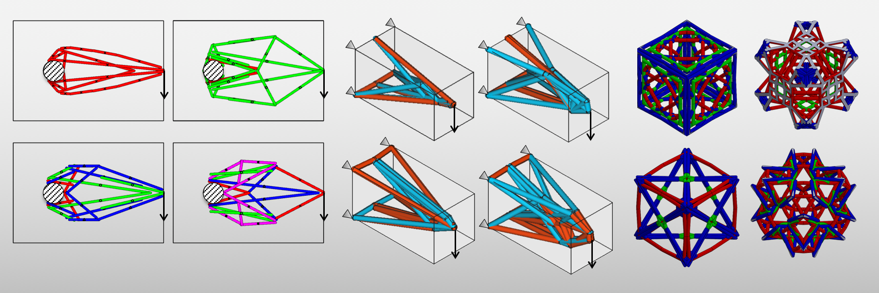 This slide shows examples of topology optimization of 2D and 3D frames, and of lattice structures made of multiple materials.